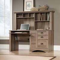 Louvre Hutch Home Office Desk In Salt Oak Finish