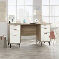 Avon Leather Handled Home Office Desk W1430mm Sky Oak Finish &White Drawers