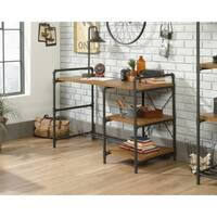 "Iron Foundry Home Office Desk With Contemporary ""Pipework"" Frame &Checked Oak Finish W1206mm"