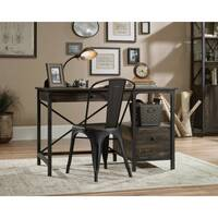Steel Gorge Home Office Desk Vintage Effect Carbon Oak Finish W1206mm