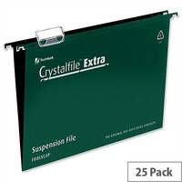 Rexel Crystalfile Extra Foolscap Vertical Suspension File Green Plastic 15mm Pack 25