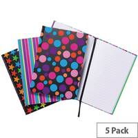 A5 Fashion Assorted Feint Ruled Casebound Notebooks Pack of 5 301651
