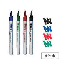 Whitebox Assorted Whiteboard Marker Pens Bullet Tip Pack 4 093177