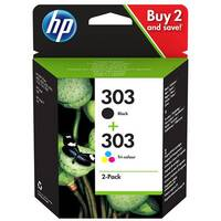 HP 303 Combo Pack - 2-pack - black, dye-based tricolour - original - ink cartridge - for Envy Photo 6220, Photo 6230, Photo 7130, Photo 7134, Photo 7830; Tango