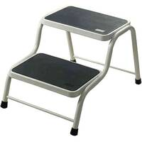 Barton 2-Tread Static Steel Handy Steps White SSHS2