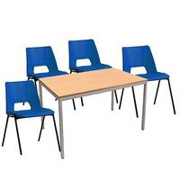 4 x Stacking Blue Chairs &1 Rectangular Beech Table Canteen Bundle