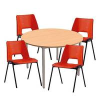4 x Stacking Red Chairs &1 Round Beech Table Canteen Bundle