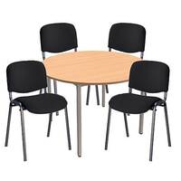 4 X Black Upholstered Stacking Chairs &1 Round Beech Table Bundle