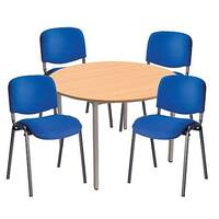 4 X Blue Upholstered Stacking Chairs &1 Round Beech Table Bundle