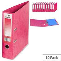 Concord Contrast Lever Arch File Laminated Capacity 65mm A4 Raspberry Pack of 10