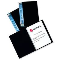 Rexel Plastic Display Book Black 20 Pockets A4 Full Length Spine