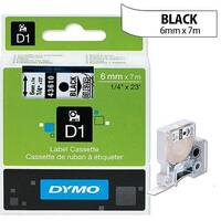 Dymo D1 Tape 43610 6mm x 7m Black on Clear S0720770