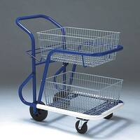 Long Wheelbase Mailroom Trolley With 2 Baskets