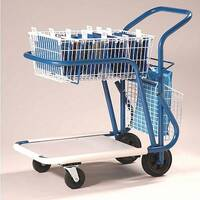 Long Wheelbase Mailroom Trolley With 1 Basket 1 Platform