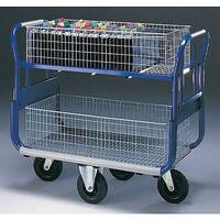 Dual Handle Mailroom Trolley With 2 Long Baskets