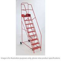 Folding Red Mobile Steps Max Height 2.75M Platform Height 1.75M
