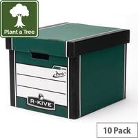 Archive Storage Boxes Tall Pack 10 Green