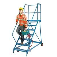 Reduced Gradient Wide Tread Mobile 7 Steps Steel Platform Height 1.61m Blue