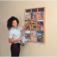 Wall Mounted Wood Literature Display Pocket Size 6 x A4