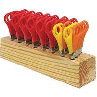 Westcott Children's Wooden Scissor Block with 32 Pairs of Scissors - Ideal for Use In Schools, Creches, Homes &More. 26 Pairs Of Right Handed &6 Pairs Of Left Handed.